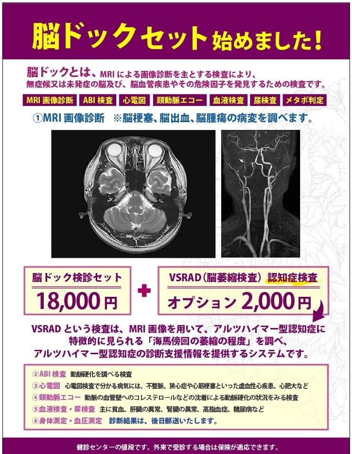 脳ドックセット始めました。MRI画像診断・ABI検査・心電図・頸動脈エコー・血液検査・尿検査・メタボ判定